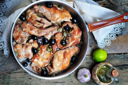 Italian Style Rabbit with Wine and Olives Family Meal